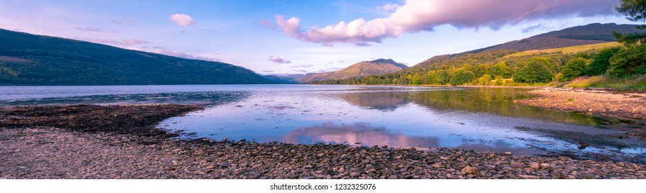 Panoramic view of the Loch Fyne shore in the Scottish region of Argyll at the end of the day