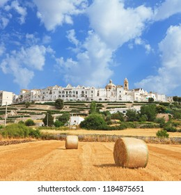 Panoramic view of Locorotondo from outside town, Apulia, Italy