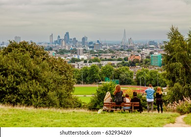 Panoramic view of London from Highgate Hampstead Park