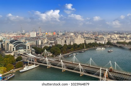 Panoramic view of London with Hungerford Bridge and Golden Jubilee Bridges over the River Thames