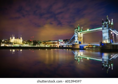 Panoramic view of London River Thames, Tower of London  and Tower Bridge International Landmarks of England United Kingdom at Dusk with clear reflection