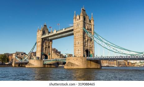 Panoramic view of London Tower Bridge