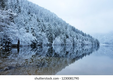 Panoramic view of Longemer Lake in the Vosges mountains, Xonrupt-Longemer, Lorraine, France. Picturesque winter landscape with white snowy trees, a bench and a house reflected in water.