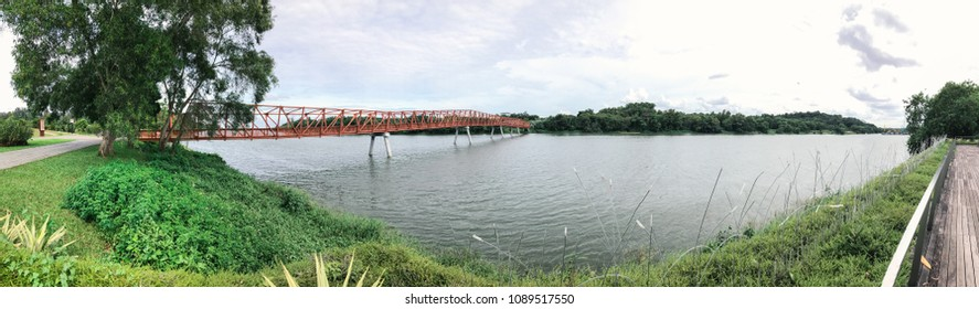 Panoramic view of Lorong Halus Bridge at Punggol Waterways, Singapore