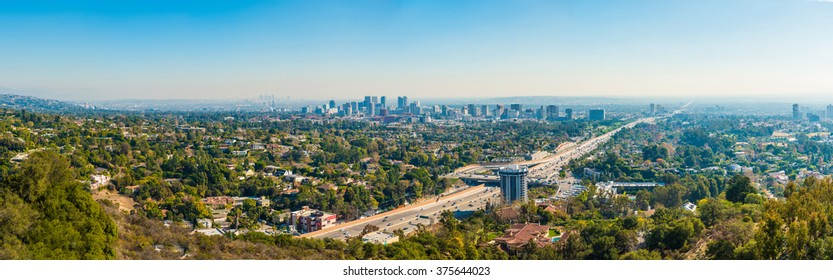 Panoramic view of Los Angeles with busy freeway