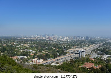 Panoramic view of Los Angeles California on a sunny day