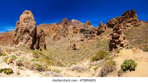 panoramic view of Los Roques de Garcia and Teide volcano, are located in the Plain of Ucanca, Tenerife, Spain