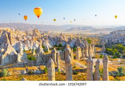 Panoramic view of Love valley near Goreme village, Cappadocia, Turkey
