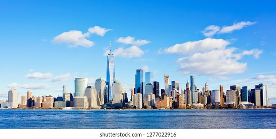 panoramic view of lower manhattan cityscape from jersey city harbor new jersey usa