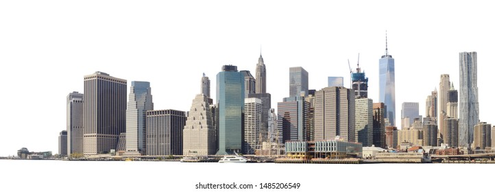 Panoramic view of Lower Manhattan from the Ellis Island - isolated on white. Clipping path included.