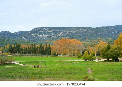 Panoramic view of the Luberon massif in autumn. Provence, France. Donkeys in the foreground.