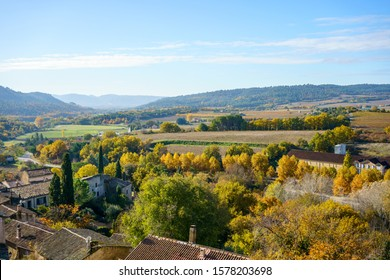 Panoramic view of the Luberon Valley in autumn, Provence, France from the village of Ansouis.