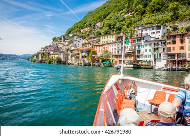 Panoramic view of  the Lugano lake and the mountains