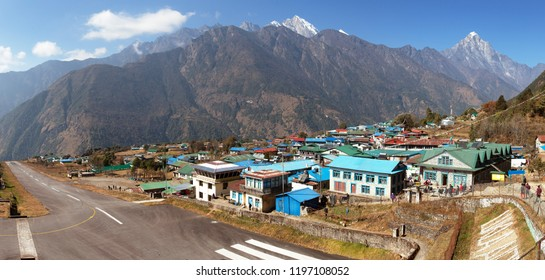 Panoramic view of Lukla village and Lukla airport, Khumbu valley, Solukhumbu, Everest area, Nepal Himalayas