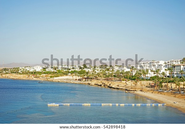 Panoramic view of luxury resort with beautiful hotels