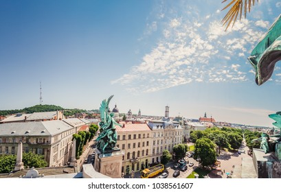 Panoramic view from Lviv opera house