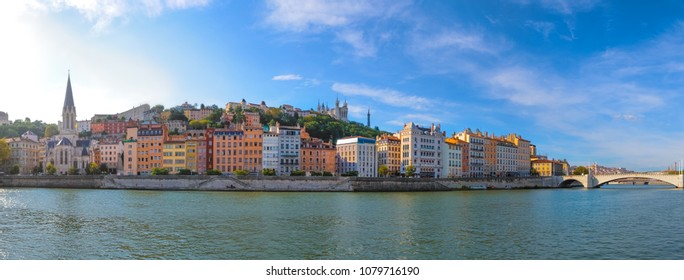 Panoramic view of Lyon skyline during a sunny day, Lyon, France