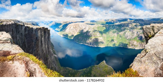 Panoramic view of Lysefjord and Kjerag mountain, famous landmark in Norway. Summer landscape