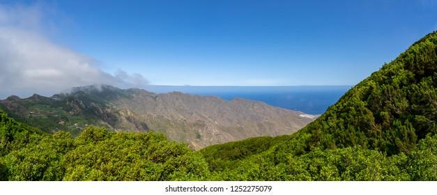 Panoramic view of the Macizo de Anaga mountain range. Tenerife. Canary Islands. Spain.