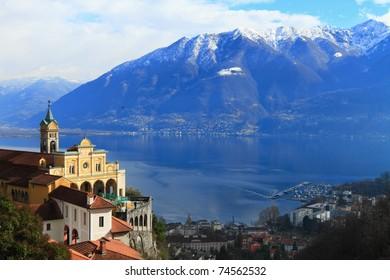 panoramic view of Madonna del Sasso and lake Maggiore at Locarno,  Switzerland