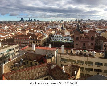 Panoramic view of Madrid skyline from elevated position, Madrid, Spain, Europe 29-3-2018