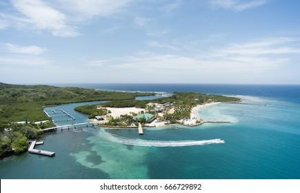 Panoramic view of the Mahogany Bay, Roatan Island, Honduras.