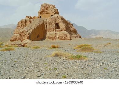 Panoramic view of main building of Subash Buddhist temple ruins in Kuqa, Aksu, Xinjiang, UNESCO World heritage site in China.