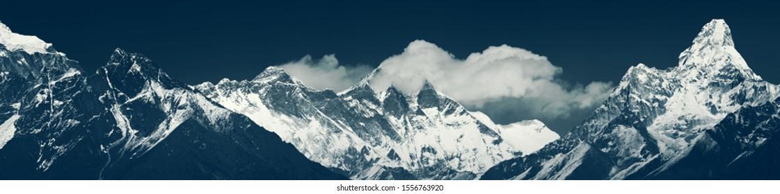 Panoramic view of main himalayan range. Solukhumbu District (Sagarmatha NP): Khumbi Yul Lha, Nuptse peaks, Everest, Lhotse, Ama Dablam