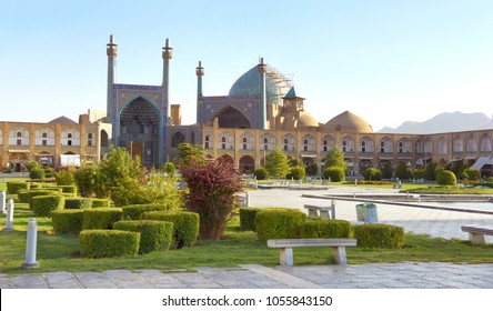 Panoramic view of the main Isfahan square. In the center is the Shah Mosque(Jameh Abbasi Mosque). Naqsh-e Jahan Square. Isfahan. Iran.