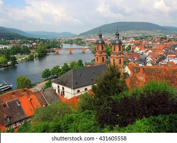 panoramic view of  the main river and st. james' church in miltenberg, germany
