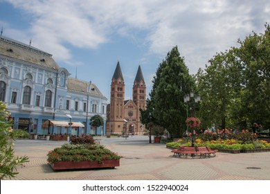Panoramic view of main square with church in Hungarian city, Nyíregyháza
