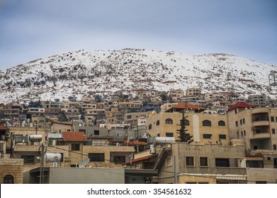Panoramic view of  Maj-dal-shams Druze town and Hermon mountain, Israel.