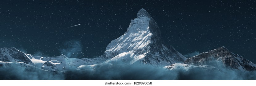 panoramic view to the majestic Matterhorn mountain at night with shooting star