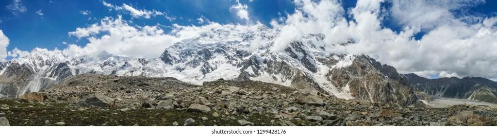 Panoramic view of majestic Nanga Parbat mountain in Himalayas in Pakistan.