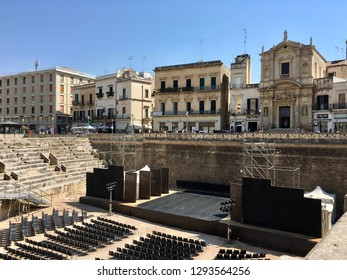 Panoramic view of the majestic Roman amphitheater of Lecce built during the augustan age (I, II century a.C.) and discovered by the archeologist Cosimo De Giorgi   Lecce, Puglia - Italy 22/08/2017