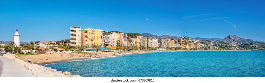 Panoramic view of Malagueta beach in Malaga. Andalusia, Costa del Sol, Spain