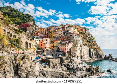 Panoramic view of Manarola, one of the villages of the Cinque Terre National Park, La Spezia Province, Liguria region, coast of the Gulf of Genoa.