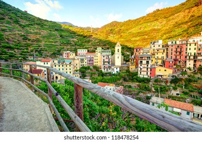 Panoramic view of Manarola village (Cinque Terre, Italy)