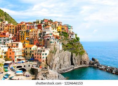 Panoramic view of Manarola village, Liguria, Italy