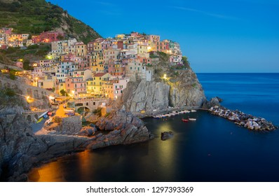 Panoramic view of Manarola village at night. Italy