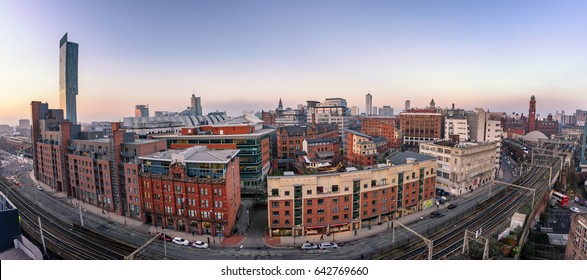 Panoramic view of Manchester city skyline from high up