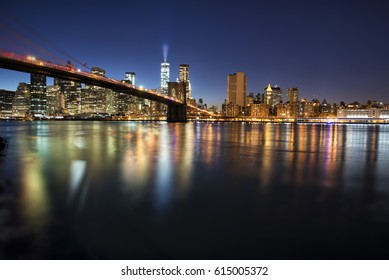 panoramic view of Manhattan at night - tilt shift effect applied in post production