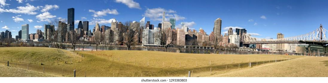 Panoramic view of Manhattan skyline from Roosevelt Island, New York City.