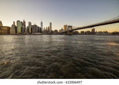 panoramic view of Manhattan at sunset - tilt shift effect applied in post production