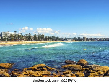 Panoramic View of Manly Beach in Australia.