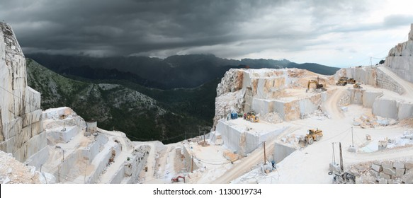 Panoramic view of marble quarry Canalgrande Alto. Carrara. Apuan Alps. Tuscany. Italy.