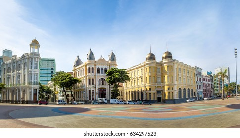 Panoramic view of Marco Zero Square at Ancient Recife district - Recife, Pernambuco, Brazil