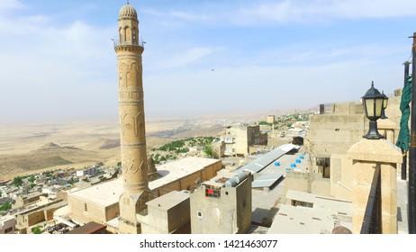 Panoramic view of Mardin city and Great Mosque (Ulu Camii)/Mardin,Turkey