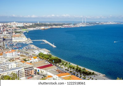 Panoramic view of marina and city center in Setubal, Portugal