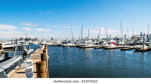 A panoramic view of a marina near Canton Waterfront Park in Baltimore Harbor in Maryland.